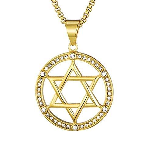 ZGYFJCH Co.,ltd Collar Collar judío Hexagonal de Acero Titanio Colgante Davidstern Regalos
