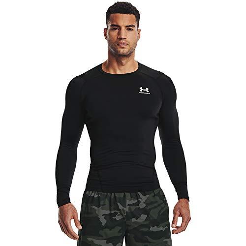 Under Armour UA HG Armour Comp LS, Camiseta de Manga Larga Hombre, Black/White, L