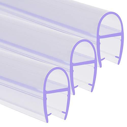 SWAWIS 3 Stück Duschdichtung 1M D-Typ Dichtung Dusche Glastür für 6mm, 7mm, 8mm Glasdicke Duschkabinen Dichtungen Duschlippe mit Wasserabweiser