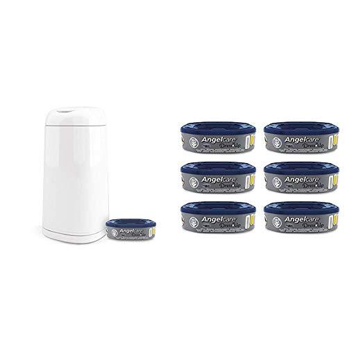 Angelcare - Pack Poubelle à Couche Dress Up laquée Blanc + 7 recharges anti-odeurs grande capacité fabriquées en France