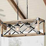 LALUZ Farmhouse Chandelier for Dining Room, Wood Kitchen Island Lighting, 27.5'' L