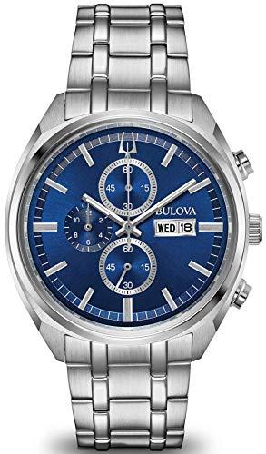 Bulova para Hombre Reloj crongrafo de Acero Inoxidable Esfera Azul 96c136