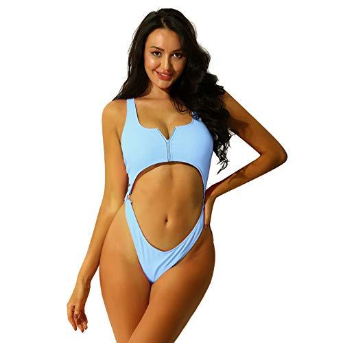 iEFiEL Monokini Donna Mare Sexy Hot Lingerie Bikini Brasiliana Push Up Costume da Bagno Intero Body da Spiaggia Piscina Tankini Estivo Trikini Trasparente Monopezzo Haze Blue L