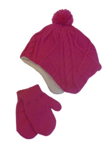 Faded Glory Infant Girls Pink Cable Knit Baby Beanie & Mittens Trapper Hat