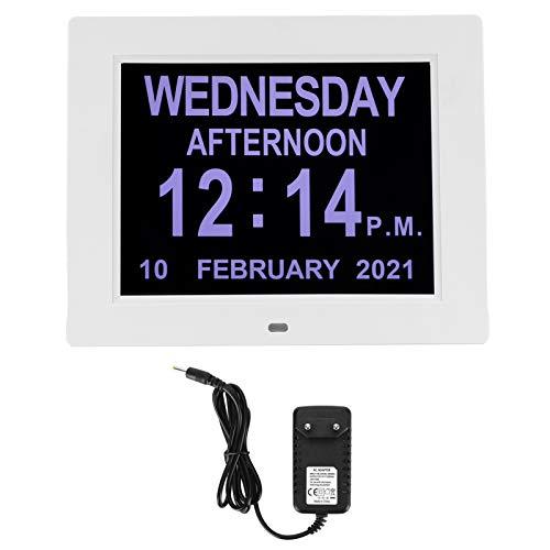 Digitale Kalender und Seniorenuhr, Digitale Uhr, Wecker, Kalender für Senioren & Demenzkranke (z.B. Alzheimer) mit Erinnerungsfunktion für Kinder, Senioren, Sehschwache und Alzheimer Patienten