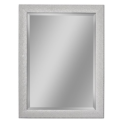 Headwest 8015 Squares Wall Mirror in White and Chrome, White & -