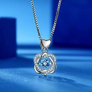 گردنبند الماس زنانه با طرح قلب زیبا با روکش پلاتین ، زنجیر نقره ، گردنبند آویز گردنبند طلا ، هدیه تولد برای مادر ، دختر ، خواهر ، همسر ، دوست دختر