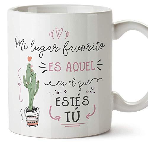 MUGFFINS Taza San Valentín (Te quiero) - Mi lugar favorito cactus - Aniversario para Novios, Enamorados, Pareja.