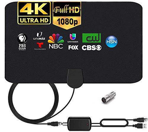 MILIWAN Antenna TV Interna con Amplificatore Segnale Antenna HDTV per DTT DVB-T DVB-T 2 con Cavo di 4,4m, Antenna Finestre per Ricezione TV Digitale HD VHF UHF FM