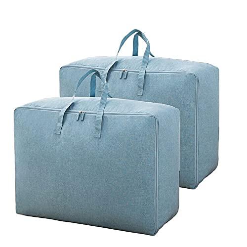 Bolsa de almacenamiento de manta o ropa de material seguro y estable, duradera para múltiples funciones y resistentes a la humedad (azul-2 unidades, 60 x 50 x 28 cm)