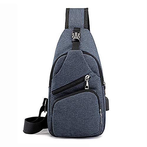 YQDHHD Mochila Bandolera Multiusos con Bandolera y Puerto de Carga USB Mochila para Viajes Senderismo Sprot al Aire Libre,Azul