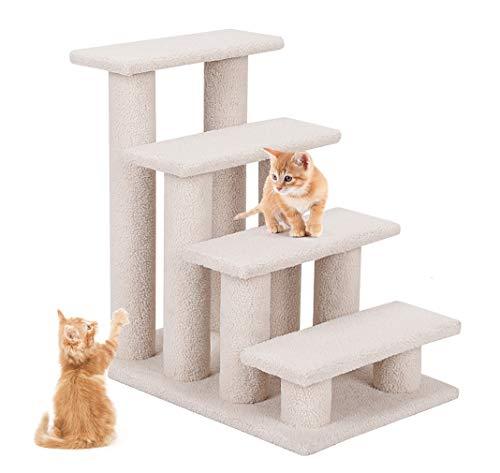 DREAMADE Katzentreppe Tiertreppe, Kletterbaum Treppe, Tierkreppe mit 4 Stuppen, Hundetreppen Katzenbaum Spielbaum, Klettertreppe für Katzen und Hunde, Milchweiß