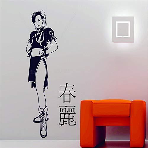 Baobaoshop Manga Girl Fighter Chunli Street Fighter Anime Decor Vinilo Etiqueta de la Pared Decal 41x90cm