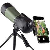 Gosky 20-60x60フィールドスコープス、スポッティングスコープ 野鳥観察、狩猟、アーチェリー、バードウォッチング、三脚と携帯バッグ付き