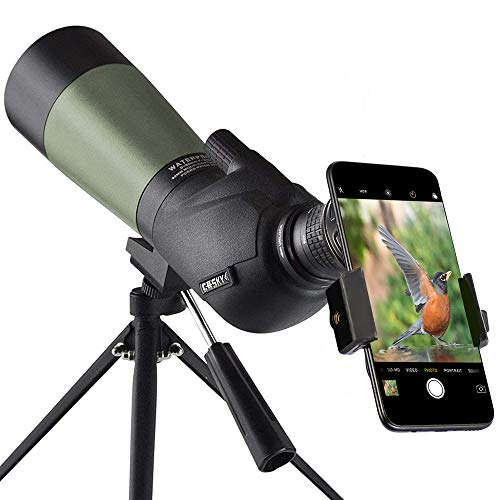 Gosky 20-60x60 HD Spotting Scope with Tripod, Carrying Bag and Scope Phone Adapter - BAK4 45 Degree Angled Eyepiece Telescope...