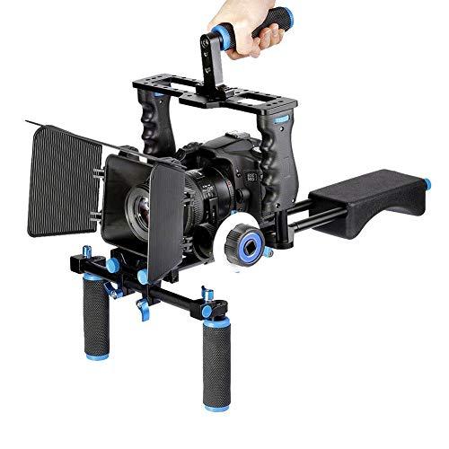 Topiky Equipo de Sistema de Toma de Video para película Profesional, Estabilizador de cámara DSLR, Plataforma para el Hombro con Jaula de cámara, Caja Mate, Barras de manija y Foco de Seguimiento