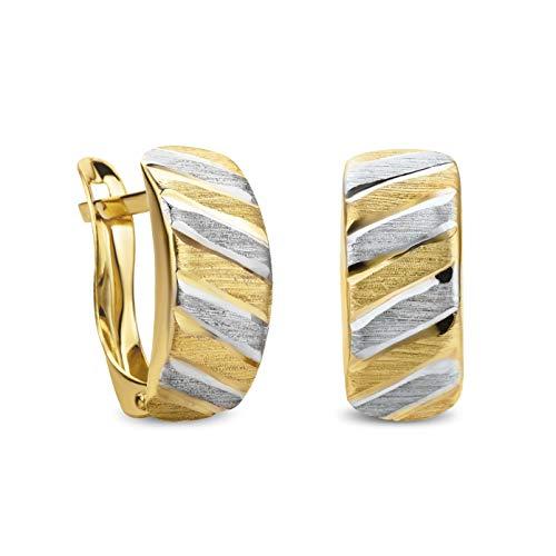 14 Karat 585 Gold Ohrringe Creolen Bicolor Matt & Glänzend Ohrschmuck – SIT13