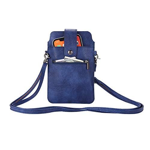 SZCINSEN Bolso cruzado para teléfono celular, bolso con correa ajustable, bolso cruzado para mujer, bolso de hombro de cuero (color azul)