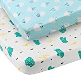 Pack n Play Sheet Fitted 2 Pack Playard Mattress Cover 100% Jersey Cotton Ultra Soft Stretchy Portable Mini Crib Sheets for Baby, Clouds Raindrops Prints Green and White portable washing machines Jan, 2021