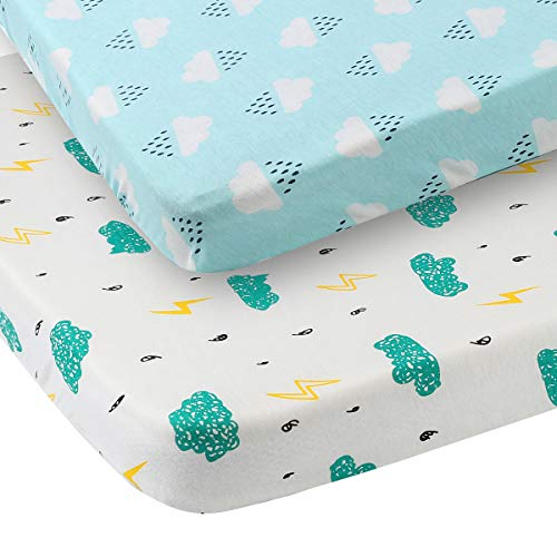 Lowest Price! Pack n Play Sheet Fitted 2 Pack Playard Mattress Cover 100% Jersey Cotton Ultra Soft S...