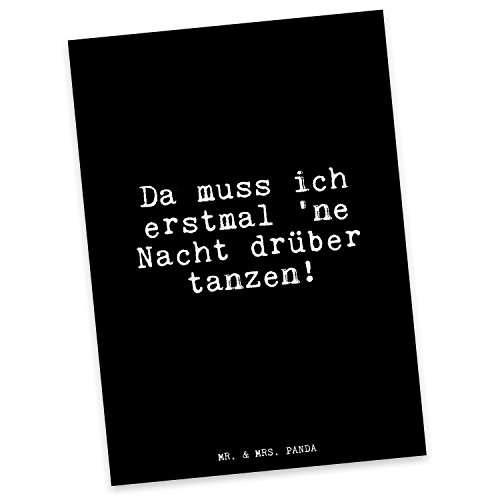 Mr. & Mrs. Panda Postkarte mit Spruch Da muss ich erstmal 'ne Nacht drüber tanzen!