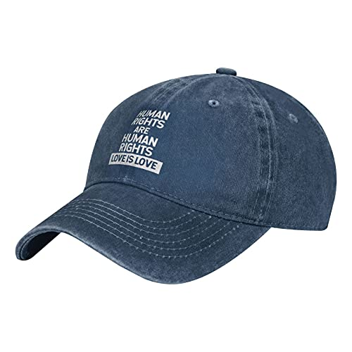 Jopath Los derechos humanos son derechos humanos Love is Love - Gorra de béisbol vintage de algodón para papá, sombrero de sándwich ajustable, unisex