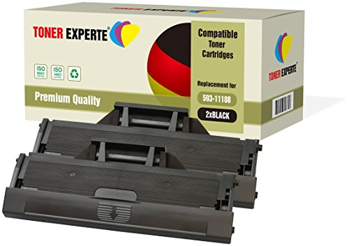 2-Pack TONER EXPERTE Compatible with 593-11108 HF44N Premium Toner Cartridges for Dell B1160, B1160w, B1163, B1163w, B1165, B1165nfw