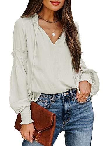 Elegancity Damen Bluse Beige Einfarbig Hemd V Ausschnitt Tunika Langarmshirt Mit Laternenärmel Elegant Oberteile Tops XL