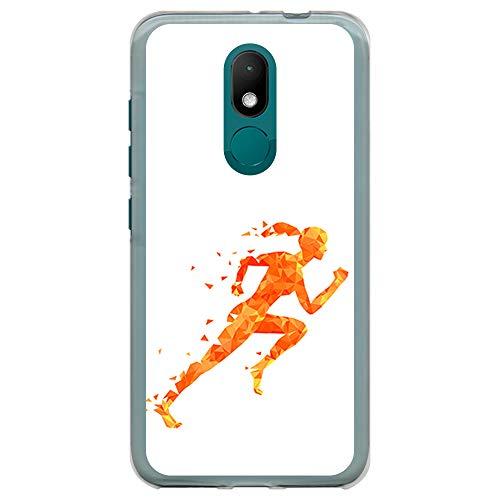 BJJ SHOP Transparent Hülle für [ Wiko Wim Lite ], Klar Flexible Silikonhülle, Design: Athlet, Abstrakter schneller Läufer