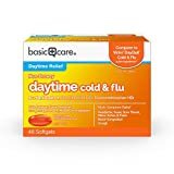 Amazon Basic Care Daytime Cold & Flu Liquid Caps; Cold Care for Daytime Cold and Flu, 48 Count