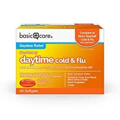 ACTIVE INGREDIENTS: This cold medicine contains acetaminophen (pain reliever/fever reducer), dextromethorphan HBr (cough suppressant) and phenylephrine HCl (nasal decongestant). Compare to the active ingredients in Vicks DayQuil Cold & Flu LiquiCaps....