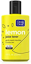 Clean & Clear Brightening Lemon Juice Facial Toner with Vitamin C and Lemon Extract to Gently Expel Impurities and Tone Skin, Alcohol-Free Oil-Free Cleansing Vitamin C Astringent Face Toner, 7.5 oz