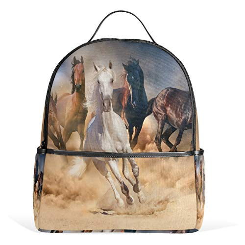 Laufende Pferde Schulrucksack Canvas Rucksack Große Kapazität Satchel Casual Travel Daypack für Kinder Mädchen Jungen Kinder Studenten 3-9 Jahre alt
