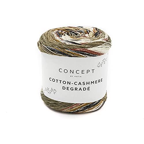 Katia Cotton Cashmere Degradé Colour 101 - Cotone con cashmere per lavorare a maglia o all'uncinetto, filato di cotone sfumato