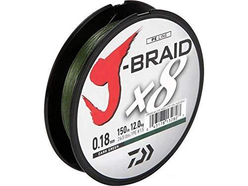 Daiwa J-Braid 8 Braid 0.13mm, 8,0kg/18lbs, 150m dunkelgrün