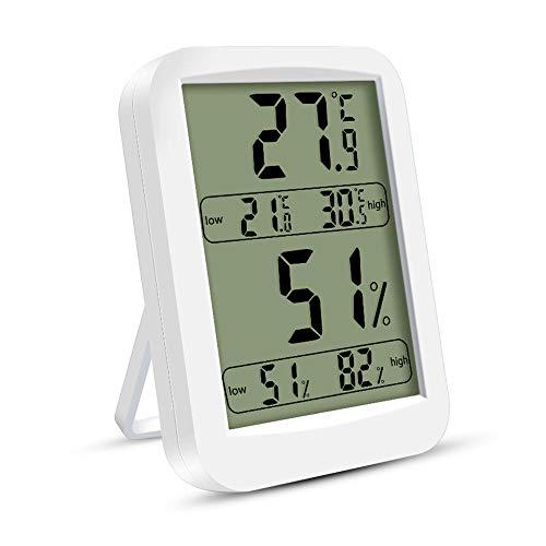 solawill Thermo-Hygrometer, Innen Digitales Thermometer Hygrometer Digital Temperatur und Luftfeuchtigkeitmessgerät mit Hohen Genauigkeit für Babyraum, Wohnzimmer, Büro - Weiß
