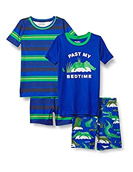 The Children s Place Baby and Toddler Boys Alligator Striped Snug Fit Cotton 4-Piece Pajamas Edge Blue 3T