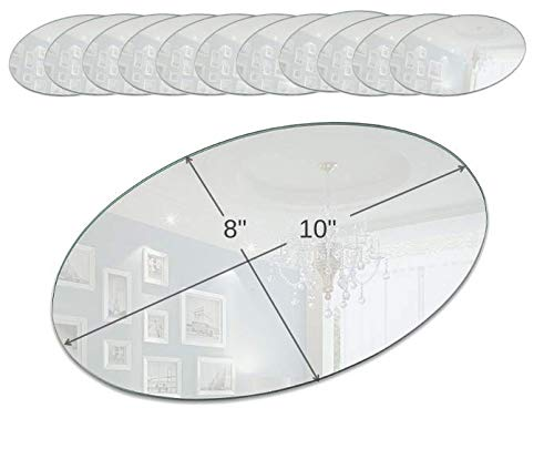 Light In The Dark Oval Mirror Tray Set - Set of 12 Oval Mirror Plates - 10 inch x 8 inch Mirror with Round Edge - Use as Table Centerpieces, Candle Plates, Wall Décor