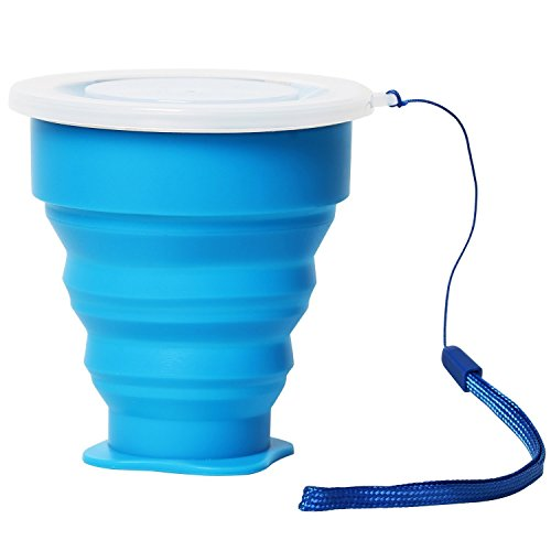 TRIXES Pliable gobelet de Voyage avec Couvercle en Silicone dans Hot Blue pour Les Festivals Outdoor Événements de Camping et Bien Plus Encore