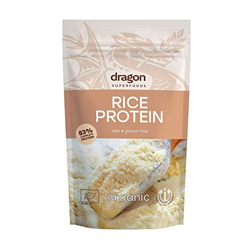 Dragon Superfoods Rice Vegan Protein Powder. 100% Bio Organic Plant Based Soy and Gluten Free Protein for Optimum Nutrition. Non Chemically Extracted - 200gr (10-13 Servings)