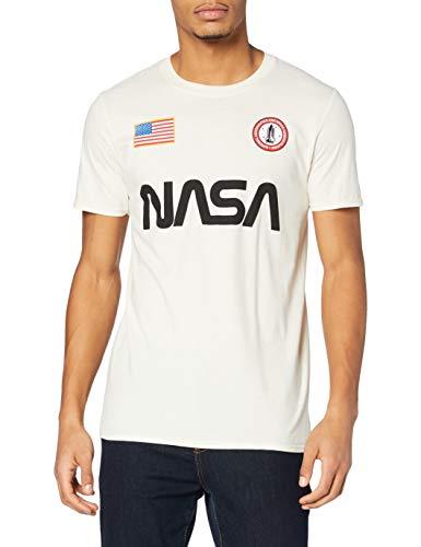 Nasa Badge Camiseta, Blanco Natural, M para Hombre
