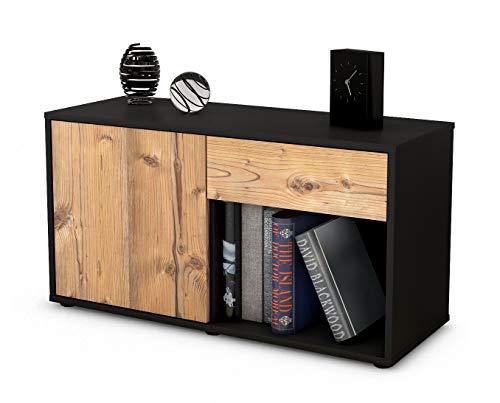 Stil.Zeit Möbel TV Schrank Lowboard Alberina, Korpus in anthrazit matt/Front im Holz Design Pinie (92x49x35cm), mit Push to Open Technik und hochwertigen Leichtlaufschienen, Made in Germany