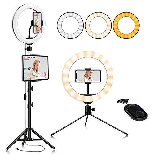Anillo de luz de 10 pulgadas con soporte, luz de llenado de trípode, kit de halo LED para transmisión en directo/videollamada/selfie/maquillaje/fotografía y producción de películas