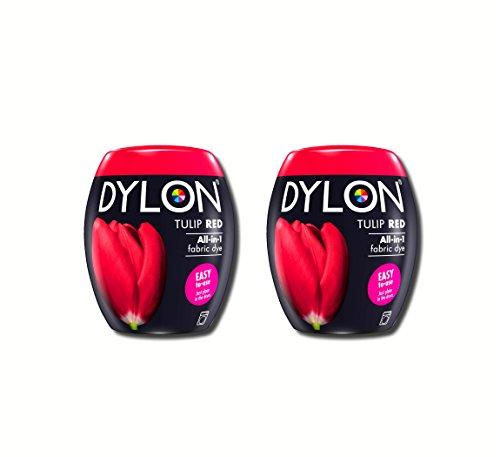 Neue Dylon 350g Tulpe Rot Maschinenfarbstoff Aushülsen 2 Pack