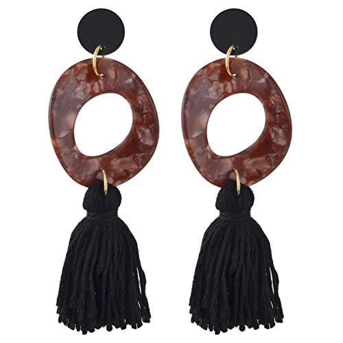 YAZILIND mujeres gota Dangle Boho Vintage pendientes hilo borla resina acrílico perno aretes declaración retro étnico joyería