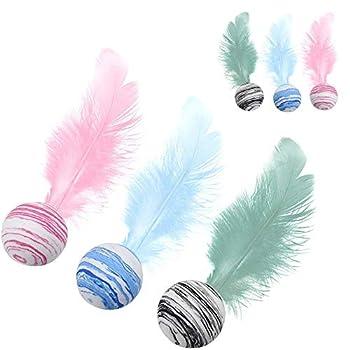 N\A Lot de 6 jouets interactifs à plumes colorées pour chaton