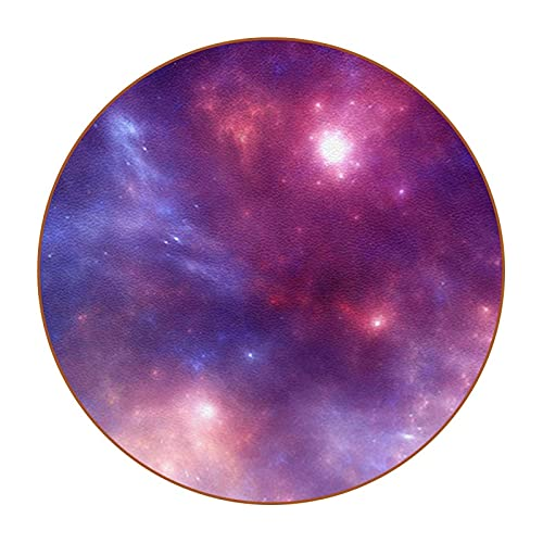 Set of 6 Coasters for Drinks,Glass Cup Holder Coffee Mug Place Mats ,Suitable for Kinds of Mugs and Cups Pink starry sky