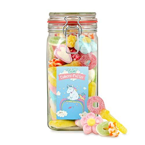 Einhorn-Futter, zauberhafte Süßigkeiten-Mischung im Glas für Einhorn-Fans