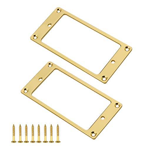 2 st gyllene humbucker pickup monteringsringar med skruvar beslag 92 x 45,5 x 2 mm metall platt pickup skyddsram för elgitarr reservdelar