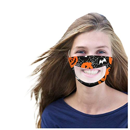 Amazing Deal WXAN Adult Halloween Cartoon Smile Clear Mouth Expression Lip Reading Cute Breathable F...